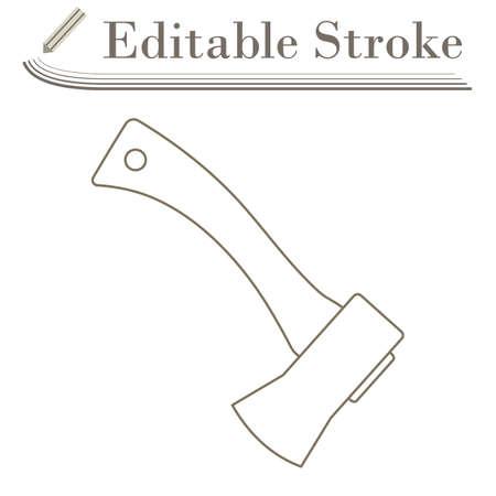Icon Of Camping Ax. Editable Stroke Simple Design. Vector Illustration.