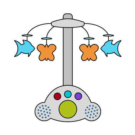 Baby Carousel Icon. Editable Outline With Color Fill Design. Vector Illustration.