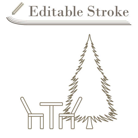 Icon Of Park Seat And Pine Tre. Editable Stroke Simple Design. Vector Illustration.