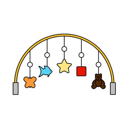 Baby Arc With Hanged Toys Icon. Editable Outline With Color Fill Design. Vector Illustration.
