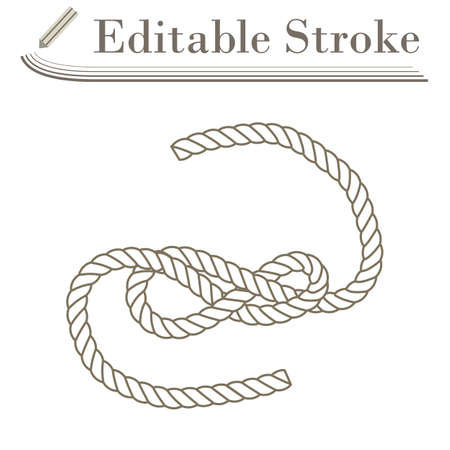 Icon Of Rope. Editable Stroke Simple Design. Vector Illustration.