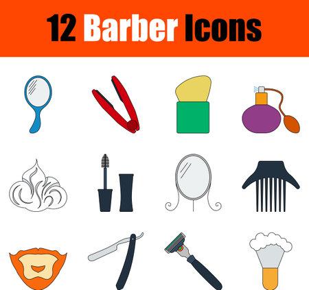 Barber Icon Set. Flat Color Outline Design With Editable Stroke. Vector Illustration.