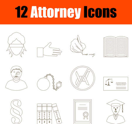 Attorney Icon Set. Thin Editable Stroke Line Without Filling Design. Vector Illustration.