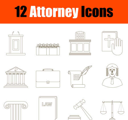 Attorney Icon Set. Flat Color Outline Design With Editable Stroke. Vector Illustration.