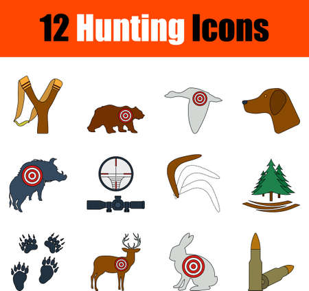 Hunting Icon Set. Flat Color Outline Design With Editable Stroke. Vector Illustration.