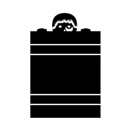 Criminal Peeping From Fence Icon. Black Glyph Design. Vector Illustration.