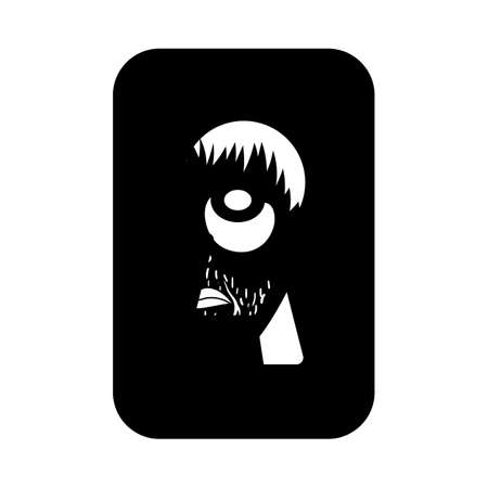 Criminal Peeping Through Keyhole Icon. Black Glyph Design. Vector Illustration.