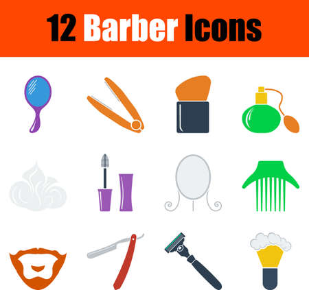 Barber Icon Set. Flat Design. Fully editable vector illustration. Text expanded.
