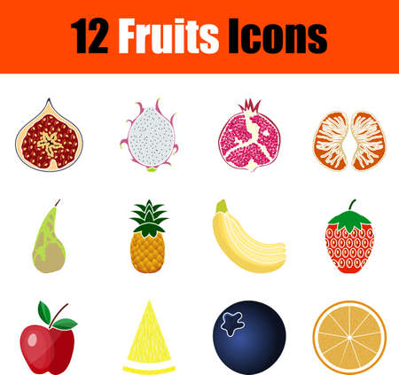 Fruits Icon Set. Flat Design. Fully editable vector illustration. Text expanded.