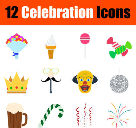 Celebration Icon Set, Flat Design. Fully editable vector illustration. Text expanded.