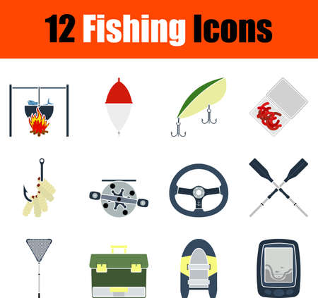 Fishing Icon Set, Flat Design. Fully editable vector illustration. Text expanded.
