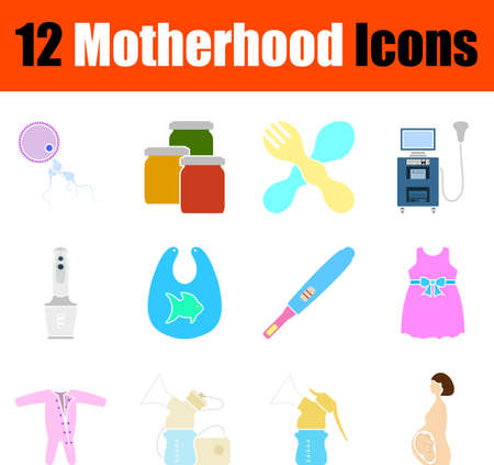 Motherhood Icon Set, Flat Design. Fully editable vector illustration. Text expanded.