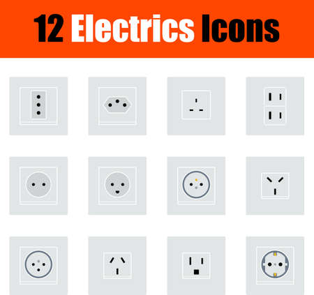 Electrics Icon Set, Flat Design. Fully editable vector illustration. Text expanded. Иллюстрация