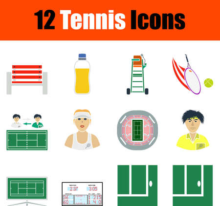 Tennis Icon Set, Flat Design. Fully editable vector illustration. Text expanded.