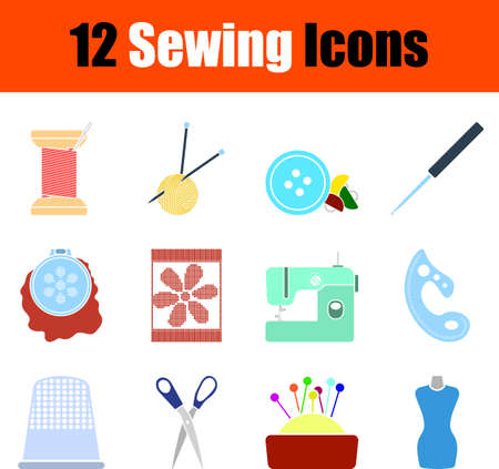 Sewing Icon Set, Flat Design. Fully editable vector illustration. Text expanded.