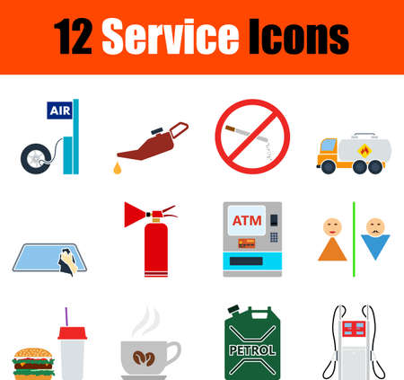 Service Icon Set, Flat Design. Fully editable vector illustration. Text expanded.