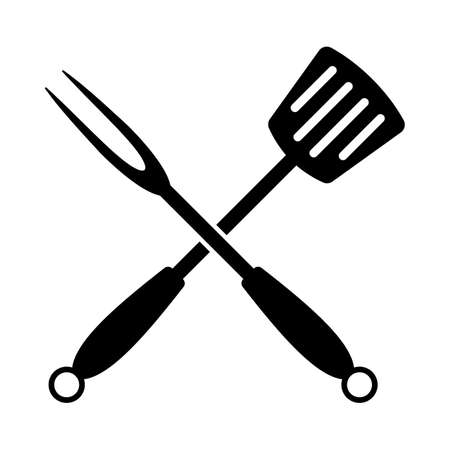 Crossed Frying Spatula And Fork Icon. Black Glyph Design. Vector Illustration.