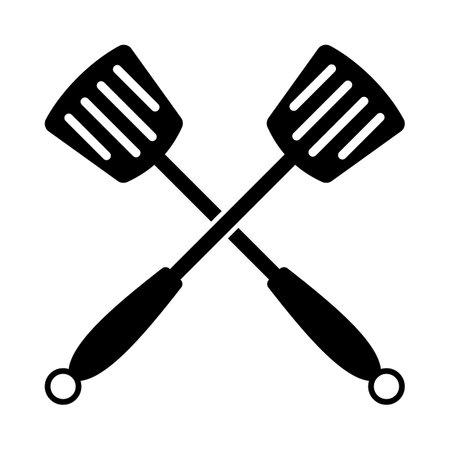 Crossed Frying Spatula. Black Glyph Design. Vector Illustration.