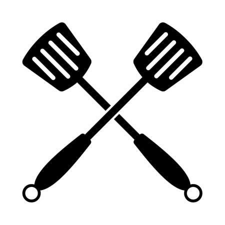 Crossed Frying Spatula. Black Glyph Design. Vector Illustration.