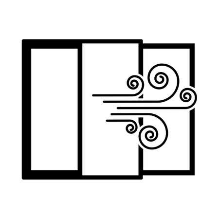 Room Ventilation Icon. Black Glyph Design. Vector Illustration.