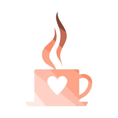 Valentine Day Coffee Icon. Flat Color Ladder Design. Vector Illustration.