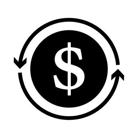 Cash Back Coin Icon. Black Glyph Design. Vector Illustration.