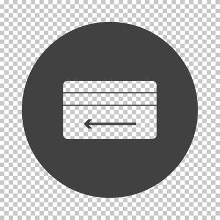 Cash Back Credit Card Icon. Subtract Stencil Design on Tranparency Grid. Vector Illustration.