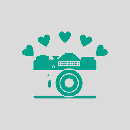 Camera With Hearts Icon. Green on Gray Background. Vector Illustration.