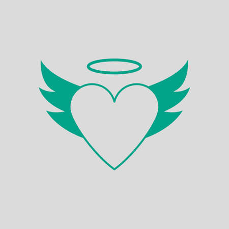 Valentine Heart With Wings And Halo Icon. Green on Gray Background. Vector Illustration.