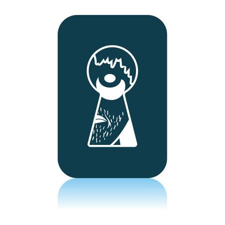 Criminal Peeping Through Keyhole Icon. Shadow Reflection Design. Vector Illustration.