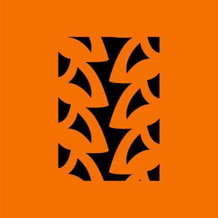 Bike Tire Print Icon. Black on Orange Background. Vector Illustration.