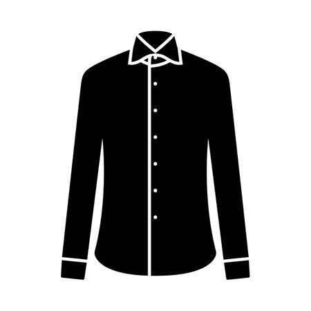 Business Shirt Icon. Black Stencil Design. Vector Illustration.