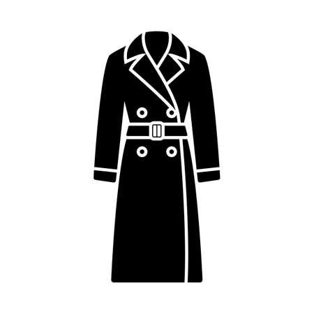 Business Woman Trench Icon. Black Stencil Design. Vector Illustration.