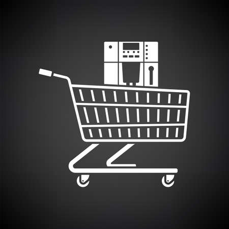 Shopping Cart With Cofee Machine Icon. White on Black Background. Vector Illustration.