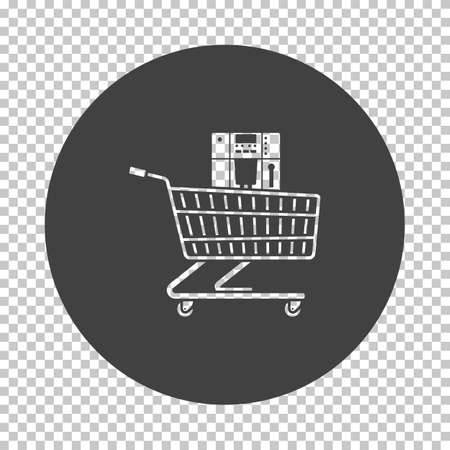 Shopping Cart With Cofee Machine Icon. Subtract Stencil Design on Tranparency Grid. Vector Illustration.