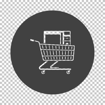 Shopping Cart With Microwave Oven Icon. Subtract Stencil Design on Tranparency Grid. Vector Illustration.