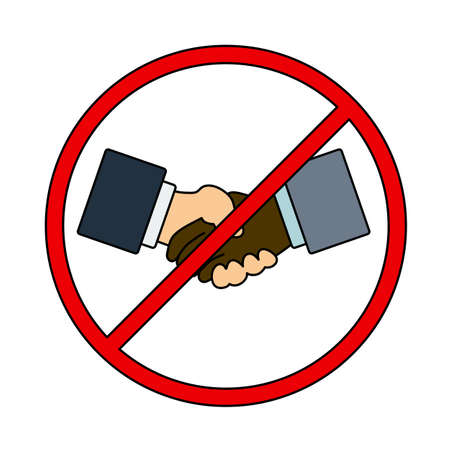 No Hand Shake Icon. Editable Outline With Color Fill Design. Vector Illustration. Stock Illustratie