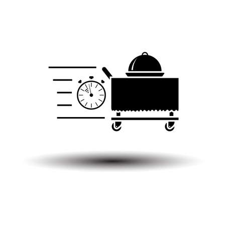 Fast Room Service Icon. Black on White Background With Shadow. Vector Illustration.
