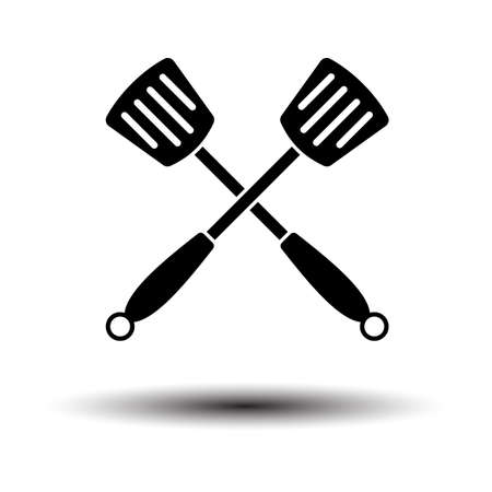 Crossed Frying Spatula. Black on White Background With Shadow. Vector Illustration.