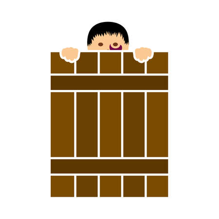 Criminal Peeping From Fence Icon. Flat Color Design. Vector Illustration.