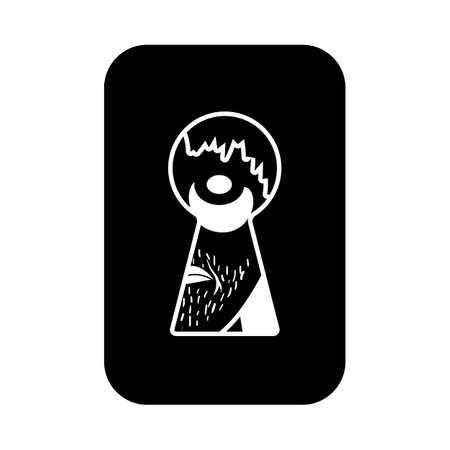 Criminal Peeping Through Keyhole Icon. Black Stencil Design. Vector Illustration.