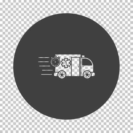 Fast Ambulance Car Icon. Subtract Stencil Design on Tranparency Grid. Vector Illustration.