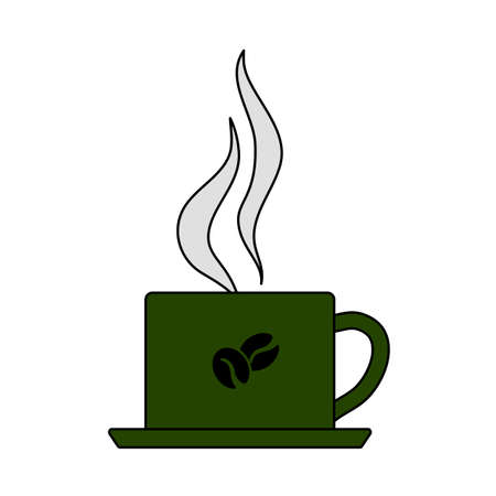 Smoking Cofee Cup Icon. Editable Outline With Color Fill Design. Vector Illustration.