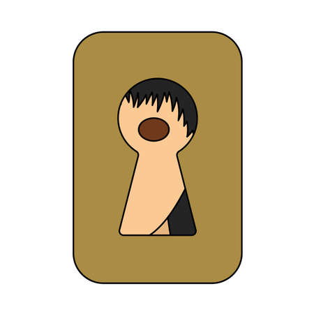 Criminal Peeping Through Keyhole Icon. Editable Outline With Color Fill Design. Vector Illustration.
