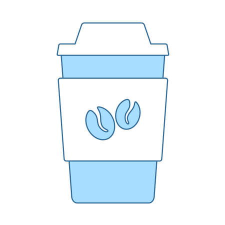 Outdoor Paper Cofee Cup Icon. Thin Line With Blue Fill Design. Vector Illustration.