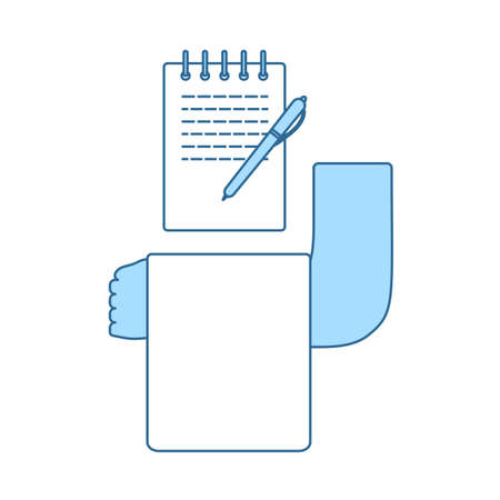 Waiter Take Oder Icon. Thin Line With Blue Fill Design. Vector Illustration.