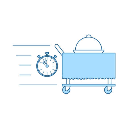 Fast Room Service Icon. Thin Line With Blue Fill Design. Vector Illustration.