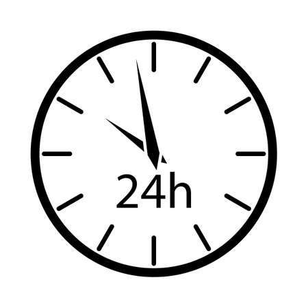 24 Hours Clock Icon. Black Stencil Design. Vector Illustration.