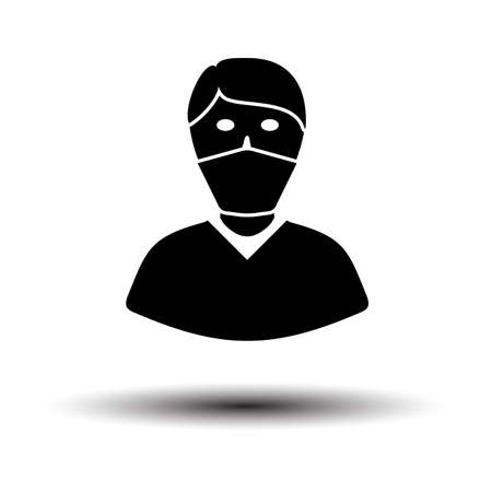 Medical Face Mask Icon. Black on White Background With Shadow. Vector Illustration.