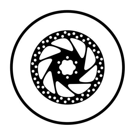 Bike Brake Disc Icon. Thin Circle Stencil Design. Vector Illustration.